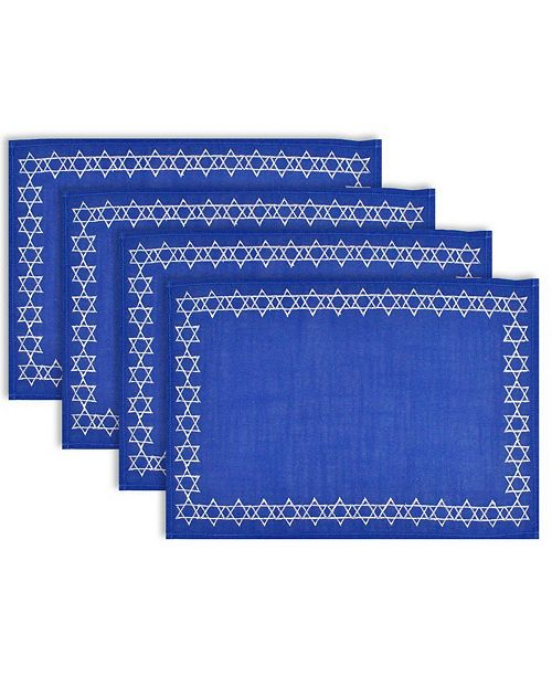 Design Import Embroidered Star David Placemat Set
