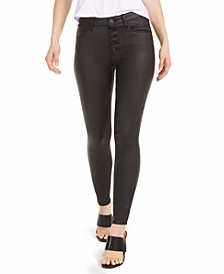 Ellie High-Rise Button-Fly Coated Skinny Jeans