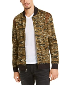 I.N.C. Men's Vices Abstract Camouflage Print Bomber Jacket, Created for Macy's