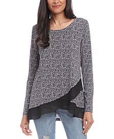 Leopard Printed Crossover Sheer-Hem Top