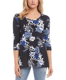 Karen Kane Floral Print 3/4-Sleeve Top