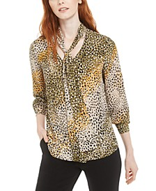 Printed Tie-Neck Top, Created for Macy's