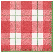 Plaid Check Red Paper Cocktail Napkin