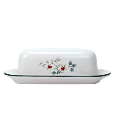 Winterberry Covered Butter Dish