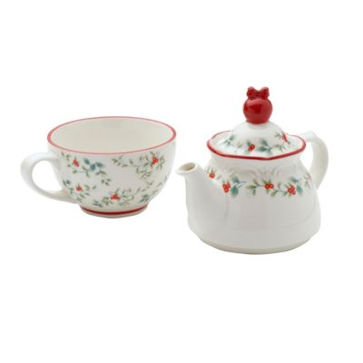 Winterberry Tea For One with Ornament Topper