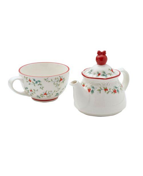 Pfaltzgraff Winterberry Tea For One with Ornament Topper