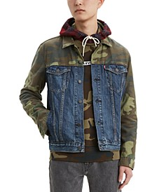 Men's Camo Color-block Denim Jacket