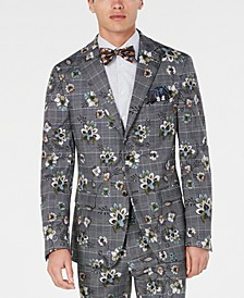 Men's Slim-Fit Plaid Floral Blazer