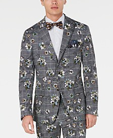 Tallia Men's Slim-Fit Plaid Floral Blazer