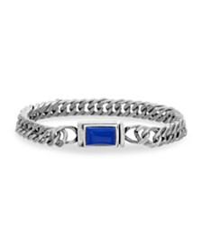 Steve Madden Men's Blue Simulated Lapis Rectangle Design Curb Chain Bracelet in Stainless Steel