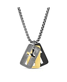 Steve Madden Men's Open Cross Dog Tag Charm Necklace in Stainless Steel