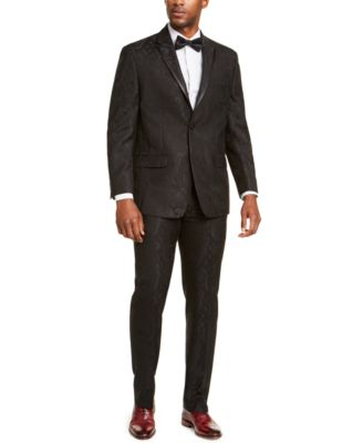 Men's Classic-Fit Black Paisley Suit Pants