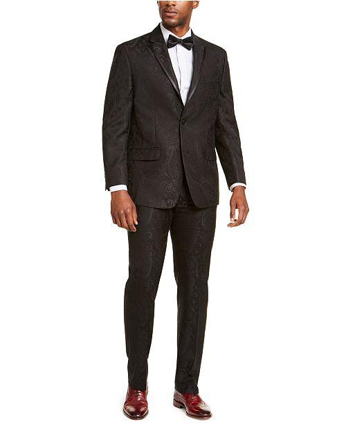Sean John Men's Classic-Fit Black Paisley Suit Separates