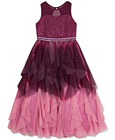 Little Girls Ruffled Ombré Mesh Dress