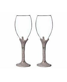 Lillian Rose Rustic Birch Wine Glass Set