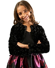 Big Girls Cropped Faux-Fur Cardigan