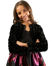 Bonnie Jean Big Girls Cropped Faux-Fur Cardigan