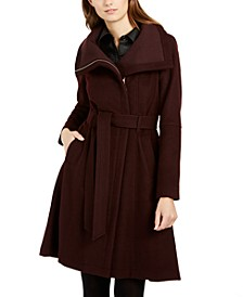 Funnel-Neck Wrap Coat