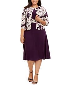 Jessica Howard Plus Size Ruched-Waist Dress & Floral-Print Jacket