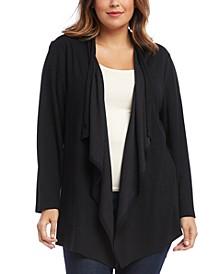Plus Size Drape-Front Toggle-Closure Cardigan