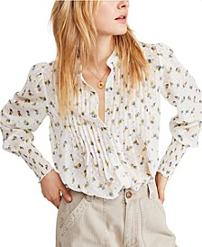 Flowers In December Puffed-Sleeve Blouse