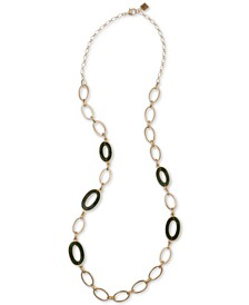 """Gold-Tone Green Oval-Link 20"""" Statement Necklace"""