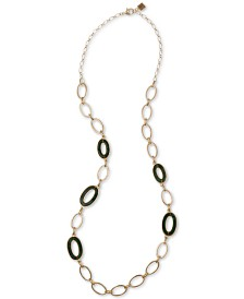 """Laundry by Shelli Segal Gold-Tone Green Oval-Link 20"""" Statement Necklace"""