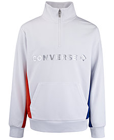 Converse Big Boys Colorblocked Logo-Print 1/4-Zip Track Jacket
