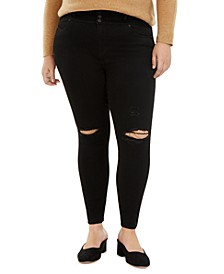 Trendy Plus Size Tripple Button Ripped Skinny Jean
