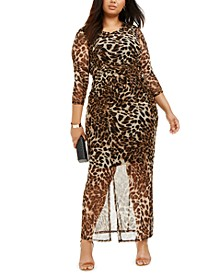 Plus Size Printed Double-Slit Maxi Dress