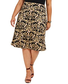 Plus Size Printed A-Line Skirt