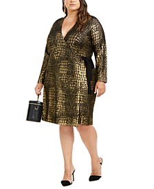 INC Plus Size Metallic Animal-Print Dress, Created for Macy's