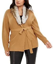 Plus Size Faux-Fur-Collar Cardigan Sweater