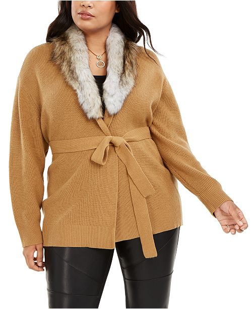 Michael Kors Plus Size Faux Fur Collar Cardigan Sweater