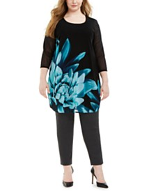 Alfani Plus Size Placed-Floral Tunic Top, Created for Macy's