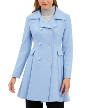 Guess Double Breasted Skirted Coat In Cornflower Blue
