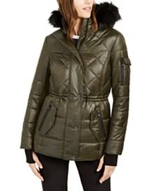 Michael Michael Kors Active Faux-Fur Trim Hooded Anorak Puffer Coat