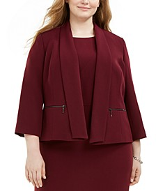 Plus Size Shawl-Collar Jacket