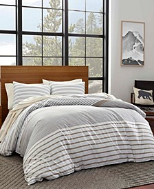 Cooper Stripe Beige Duvet Cover Set, Full/Queen