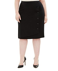 Plus Size Button-Detail Ponte-Knit Skirt