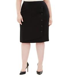 Kasper Plus Size Button-Detail Ponte-Knit Skirt