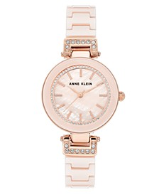 Women's Pink Ceramic Bracelet Watch 30mm