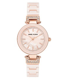 Anne Klein Women's Pink Ceramic Bracelet Watch 30mm
