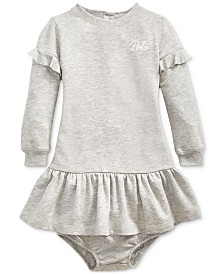Polo Ralph Lauren Baby Girls French Terry Ruffled Dress