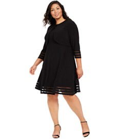 Jessica Howard Plus Size Illusion-Trim Dress & Bolero Jacket