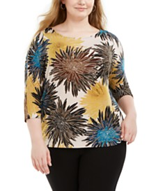 Alfani Plus Size Printed Dolman-Sleeve Top, Created for Macy's
