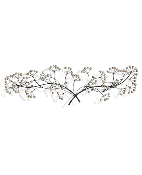 Metal And Wood Beaded Tree Branch Wall Art