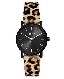 DKNY Women's Soho Leopard-Print Leather Strap Watch 34mm