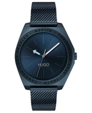 Hugo Men's #Act Blue Stainless Steel Mesh Bracelet Watch 44mm