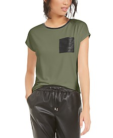 Bar III Faux-Leather Pocket T-Shirt, Created For Macy's